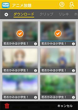 アニメ放題「削除する作品を選択」画面