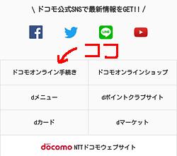my docomo「ドコモオンライン手続きのメニュー位置」