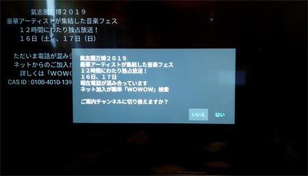 WOWOW「ご案内チャンネルに切り替えますか?」画面