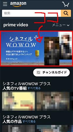 シネフィルWOWOWプラス「申し込み位置」画面