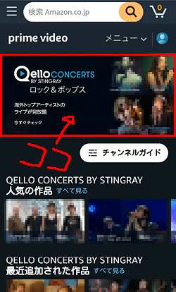 Qello Concerts by Stingray「申し込み位置」画面